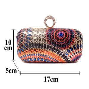 Ring Colorful Printed Handbag Ladies Evening Bags