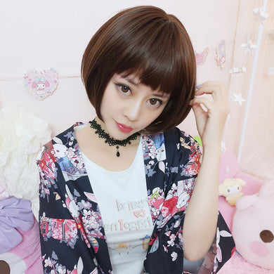 Wig Popular Fashion Girls Short Hair Bobo Hairstyle Bangs Linen Color Wigs