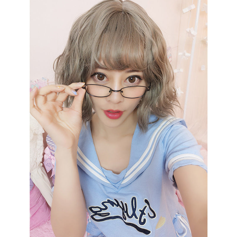 Chemical Fiber Wig  Fashion Lady Linen Gray  Pear Roll Air Bangs Wigs