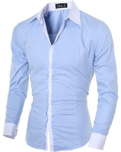 Contrast Color Casual and Business Dress Shirt for Men