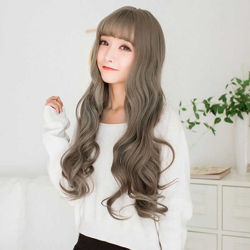 Fashion Wig Female Long Curly Hair Bangs Natural Fluffy Face Big Wave Hair Fiber Hair