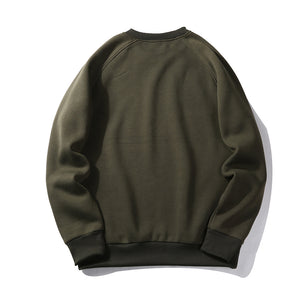 Round Collar Casual Solid Color Pullover Hoodie for Men