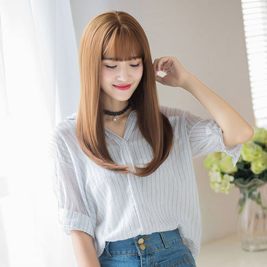 Popular Fashion Long Hair Wig Natural Color Bangs Wigs