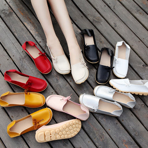 Solid Color Bow Detailed Slip On Shoes