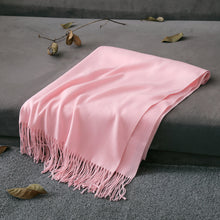 Solid Color Synthetic Woolen Long Scarf with Fringes