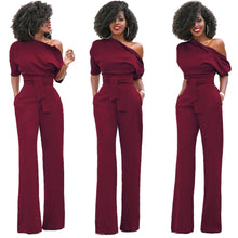 Half Sleeves Single Shoulder Long Bottom Belt Tied Jumpsuit for Women