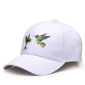 Birds Embroided Solid Color Trucker Cap