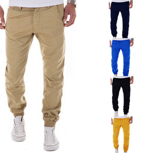 Solid Color Slimline Jogger Cotton Blends Casual Pants for Men
