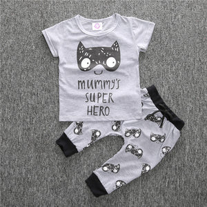 2pcs/set Baby Boy Girl Casual Clothes Pullover Carrton Lion Face O-Neck Cotton Suit Newborn Short Sleeve + Jeans Outfits