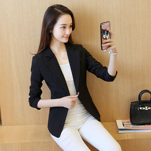 Women's One Button Long Sleeves Suit Jacket