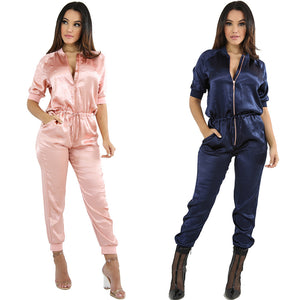 Luster Surface Zip Up Satin Jumpsuit with Elastic Waist Band