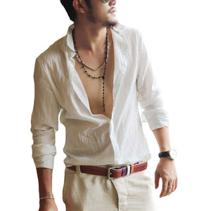 Casual Linen Men's Shirts Loose Fitting Daily Fashion Shirts