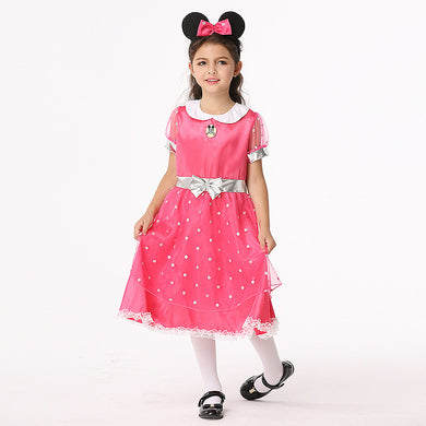 Summer Kids Minnie Mickey Cute Short Sleeves Dresses Costume Cartoon Cosplay Anime Halloween Sets for Children