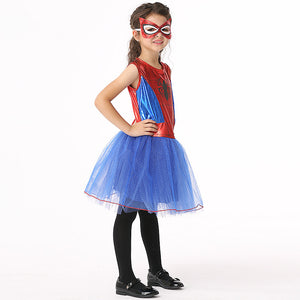 Children Girls Spiderman Cosplay Dress Girl Kids Masquerade Party Dress Cute Blindfold Children Halloween Perform Costume