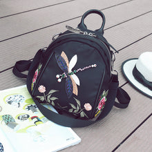 Floral Embroidery Backpack Handmade Rhinestone 3D Dragonfly Shoulder Bags Casual Fashion Bag