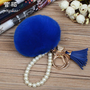 Special For New Product Real Fur Ball Hanging Leather Bag Key Hang Decoration