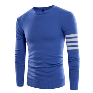Pure Color Stripes Sleeves Round Neck Knitting Sweaters for Men