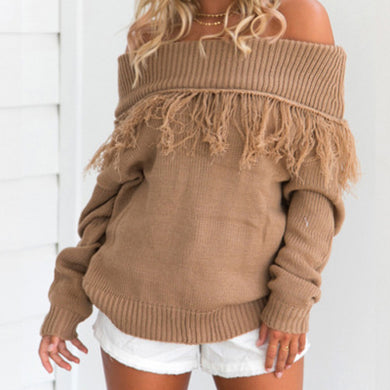 Off The Shoulder Long Sleeves Tassels  Autumn Sweater