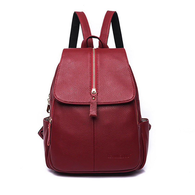Middle Zip Solid Color Simple Desig Women Backpack