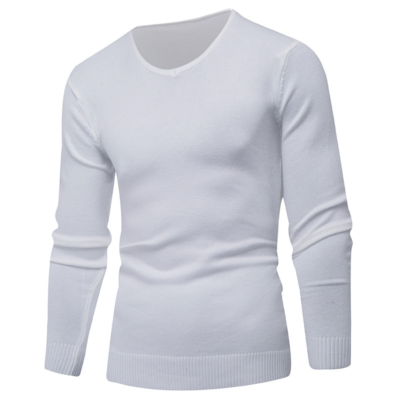 Pure Color long Sleeves Round Neck Pullover Sweaters