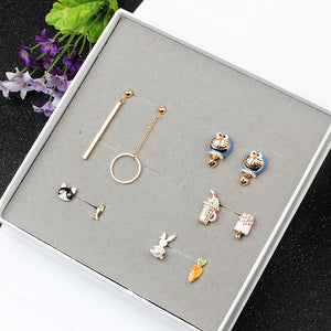 New Asymmetric Ear Nail Korean Version Of The Students Lovely Wind Alloy Combination Of Earrings Suit Jewelry Wholesale