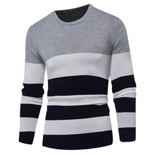 Color Stripes Round Neck Slim Fit Sweaters