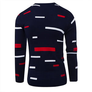 Round Neck Long Sleeves Color Blocks Pattern Sweaters for Men