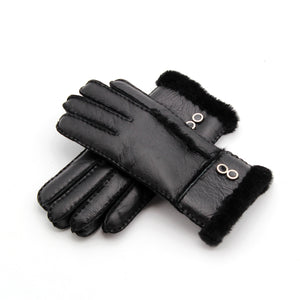 Solid Color Buttons Detailed Cuffs Women's Gloves