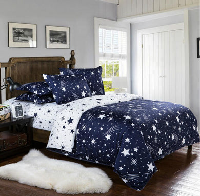 Stars Pattern White and Blue Double Sides Soft and Luxury Beddings Set
