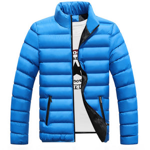 Zip Through Quilted Down Coat Warm Keeping Men's Outwear