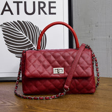 Red Handle Diamond Design Chain Bags