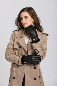 Solid Color Breathable Synthetic Leather Women's Gloves