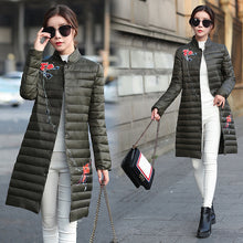 Medium Length Floral Pattern Printed Quilted Down Coat for Women