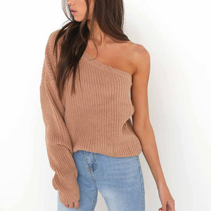 Women's One Shoulder Pullover Knitting Autumn Sweater