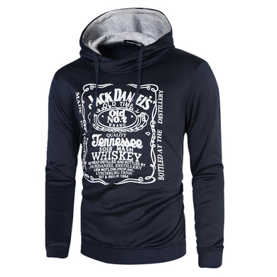 Men's Long-sleeved Hooded Sweatshirt Letters Printed Slim Fashion Hoodie