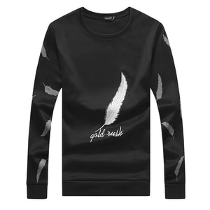 New Men's Casual Slim Round Neck Long-sleeved Feather Embroidered Sweatshirt