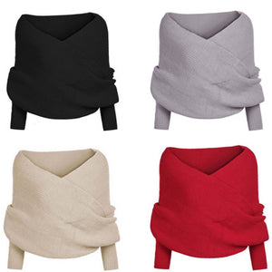 Women's One Shoulder Long Sleeves Pullover Knitting Autumn Sweater