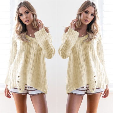 Women's Ripped Pullover Long Sleeves Sweater