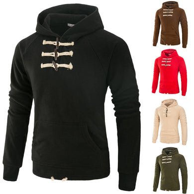 Big Button Up Men's Fashion Hoodies with Kangaroo Pocket