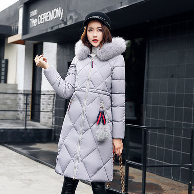 Diamond Pattern Quilted Down Coat Windproof Winter Jacket for Women