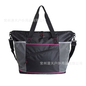 Multi-Functional Yoga Receive Single Shoulder Bag Checked Mesh Fabric Yoga Bag