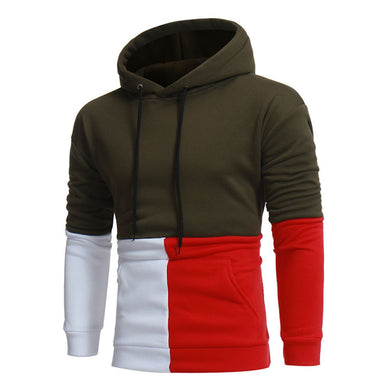 Simple Color Blocks Casual Hoodies for Men