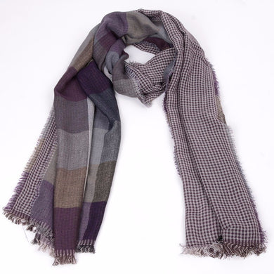 Plaid Check Pattern Acrylic Fiber Scarves with Fringes for Men