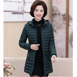 Solid Color Quilted Down Coat with Hoodies and Drawcords