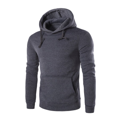 Kangaroo Pocket Winter Men's Solid Color Long-sleeved Hooded Sweatshirt