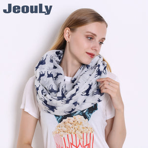 Christmas Deer Pattern Voile Women's Cute Scarf
