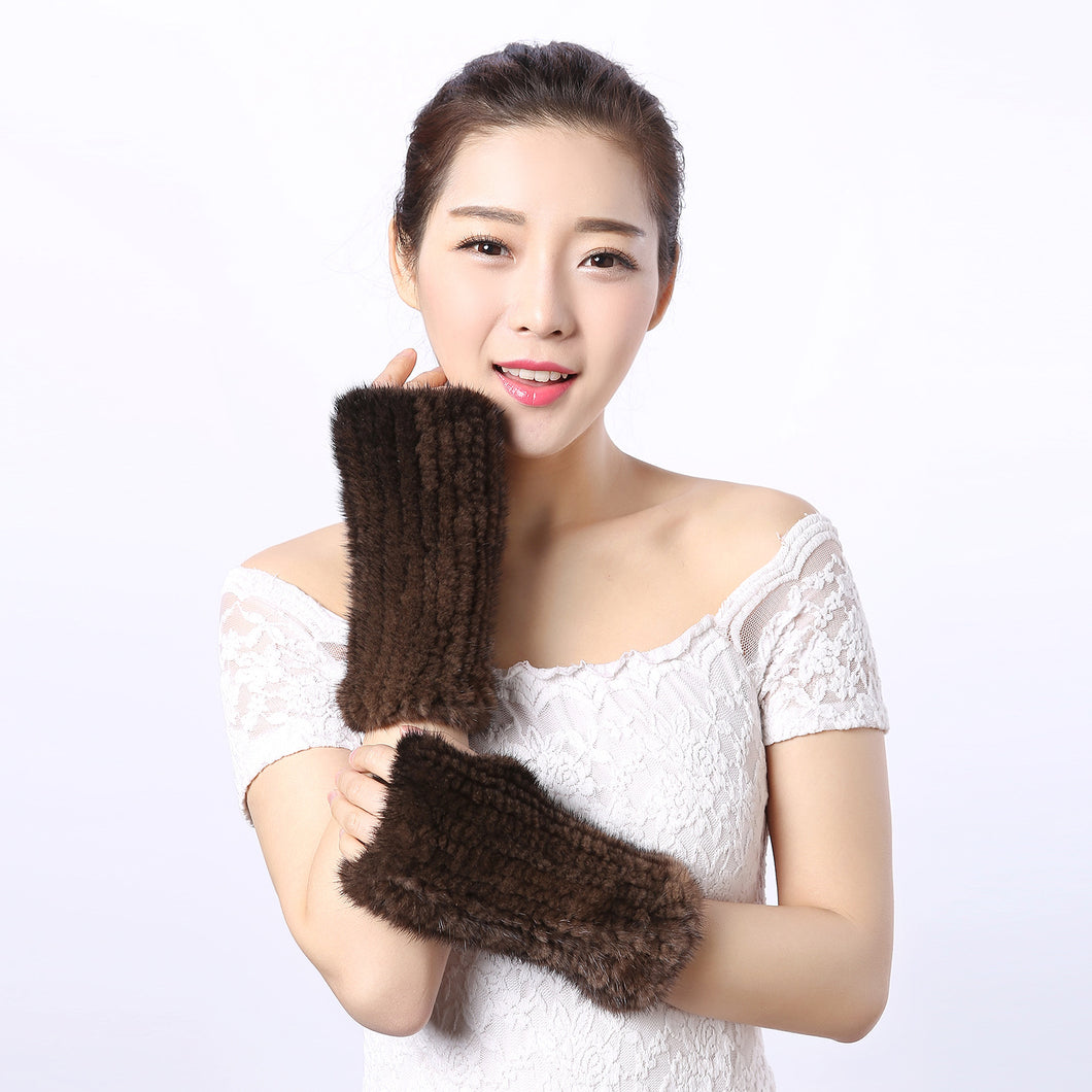 Mink Fur Windproof Long Cuffs Mitt Gloves for Women