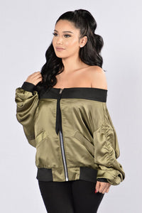 Off Shoulder Zip Through Luster Fabric Bat Wing Jacket