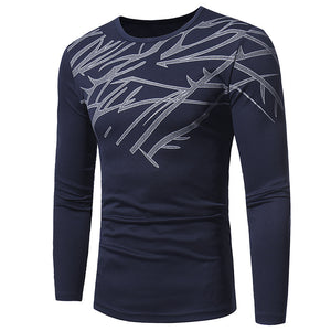 Bamboo Pattern Long Sleeves Slim Fitting Men's Tops