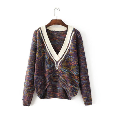 Autumn and Winter New Female Knitting Sweater Loose Large Size V-neck Sweater Women